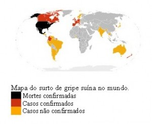 Mapa do surto da gripe suína no mundo inteiro