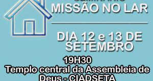 ARAGUATINS: AD realizará dias 12 e 13 de setembro, seminário Missão no Lar