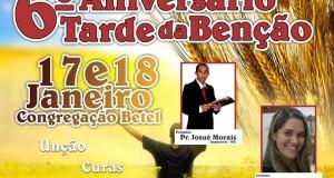 ARAGUATINS: Acontecerá o 6º aniversário da Tarde da Bênção