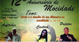 ARAGUATINS: Congregação Cristo Vive realizará XII Aniversário do Grupo de Mocidade.