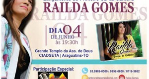ARAGUATINS: Cantora Railda Gomes lançará o CD Tempo de Colheita